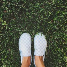 White on white checkered Vans slip ons #Classic