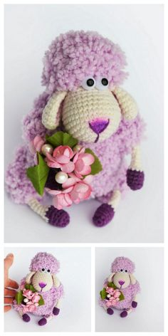 Amigurumi Sleeping Lamb Free Pattern – Free Amigurumi Patterns Christmas Crochet Patterns, Crochet Animal Patterns, Stuffed Animal Patterns, Amigurumi Patterns, Crochet Animals, Stuffed Animals, Easter Crochet, Crochet For Kids, Crochet Toys
