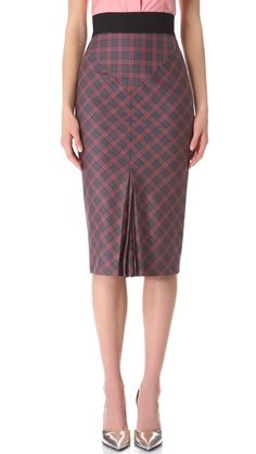 L'Wren Scott Plaid Pencil Skirt