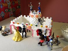Build a castle using sugar cubes. Kids craft. DIY.