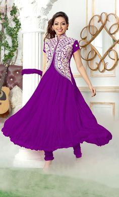 Blush Rush purple Anarkali semi stitched suit from Urban Buy