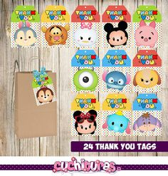 24 Tsum Tsum Thank you Tags instant download Printable Tsum