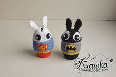 ocieplacze na jajka wielkanocne ozdoby zrobione na szydełku, królik superman i batman szydełko amigumumi, egg warmers super rabbit and batman #crochet