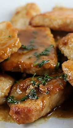 Pork tenderloin with Marsala sauce. Fried pork chops with delicious sweet Marsala sauce. Very easy recipe. Pork Tenderloin Recipes, Pork Recipes, Cooking Recipes, Pork Meals, Cooking Pork, Savoury Recipes, Sausage Recipes, Marsala Sauce, Salads