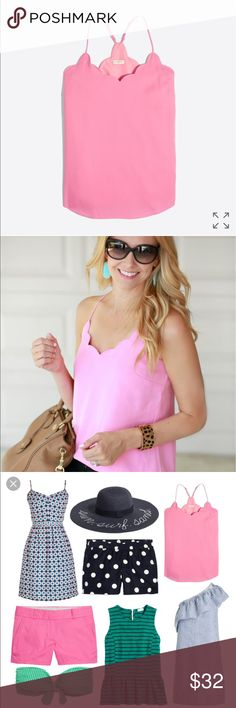J. crew Scalloped Cami Brand new with tags. The blue photo is just an example of the back. This item is pink.  Poly. Lined. Machine wash.  Import. Item G3367. J. Crew Tops Tank Tops