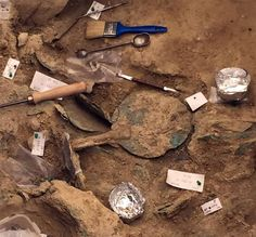 Archaeologists digging at Pylos, an ancient city on the southwest coast of Greece, have discovered the rich grave of a warrior who was buried at the dawn of European civilization.  He lies with a yard long bronze sword and a remarkable collection of gold rings, precious jewels and beautifully carved seals.