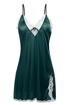 Ekouaer Womens Silk Lingerie Sleepwear Short NightgownGreenMedium ** More info could be found at the image url.