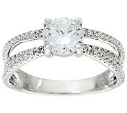 Diamonique 1.45 cttw Solitaire w/ Multi Band Ring, Sterling - J330594