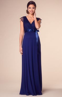 Vivaciously vintage, our popular Rosa Gown in rich Indigo Blue is now available in an effortlessly, glamorous floor length variation.