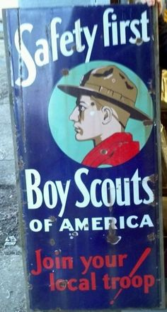 Boy Scouts of America highway lighthouse porcelain sign