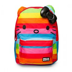LOUNGEFLY HELLO KITTY RAINBOW PRINT FACE WITH BOW BACKPACK
