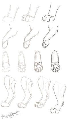 Animal Drawings Paw Tutorial 2 by NaironDragon on DeviantArt - Pencil Art Drawings, Cool Art Drawings, Art Drawings Sketches, Cat Drawing Tutorial, Drawing Base, Drawing Tips, Animal Sketches, Animal Drawings, Drawing Animals