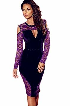 ohyeah Women's Long Sleeve Dress Lace Mesh Bodycon Dress Purple Size US 12 -- Check out this great product.