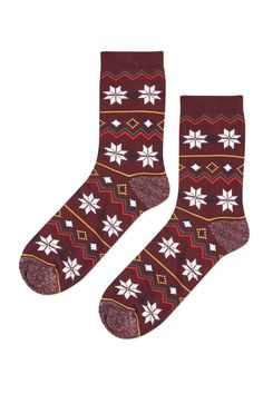 aa00f91282c Feeling festive  Show it with your footwear! These burgundy socks come in a  fairisle