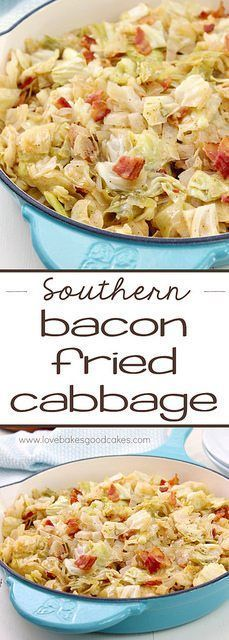 Southern Bacon-Fried Cabbage via @lovebakesgood
