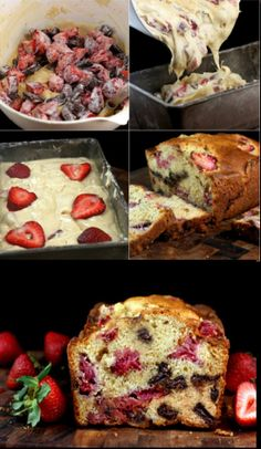 Super Moist and Luscious Strawberry Chocolate Chunk Yogurt Loaf