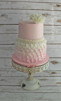 Shabby Chic Baby Shower Cake - Cake by Cup of Sugar Cakes