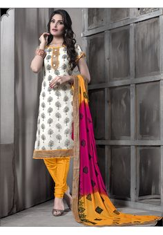 White with yellow Embroidered #cottonsalwarkameez comes with chiffon dupatta.