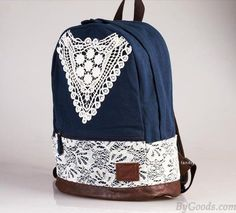 Fashion College Style Triangle Lace Backpack