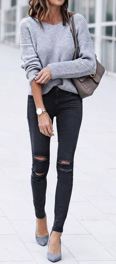 summer outfits Grey Knit + Black Ripped Skinny Jeans