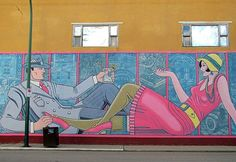 one of the murals in Moose Jaw