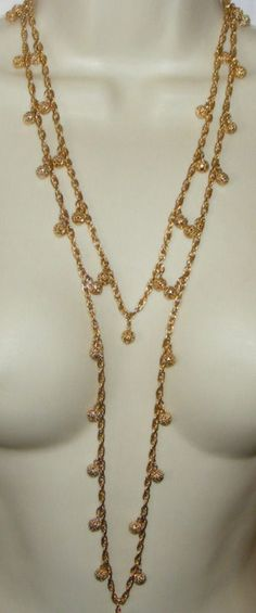 Vintage TRIFARI Super Long dangling goldtone filigree bead ball NECKLACE
