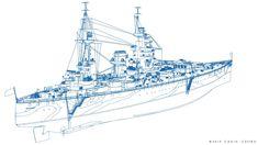 ArtStation - HMS RODNEY, Carlo Cestra Model Warships, Royal Navy, Battleship, Wwii, Drawings, Artwork, Ships, Work Of Art, World War Ii