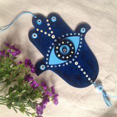 Wood painting wood object blue hand hamsa ahsap boyama dekoratif obje handmade design fatmanin eli nazarlik ugur sans