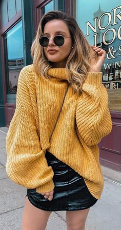 7b15139b7c  fall  outfits brown knitted turtleneck sweater and black leather  miniskirt. Cute Date Outfits