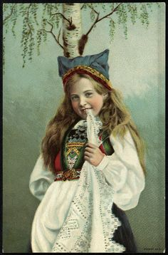 Little girl in Hardanger bunad, ca by Solveig Lund Folk Costume, Costumes, Norwegian People, Kingdom Of Sweden, Nordic Lights, Scandinavian Fashion, Bridal Crown, Lund, Photo Postcards