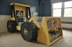 Construction Truck Bed PLANS (in digital format) - For a DIY Construction Themed Room - Kid Bedroom Decor Tractor Bed, Kids Bedroom, Bedroom Decor, Diy Toddler Bed, Diy 2019, Castle Bed, Full Size Mattress, Bed Plans, Truck Bed