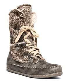 Muk Luks Gray Lilly Lace-Up Boot | zulily