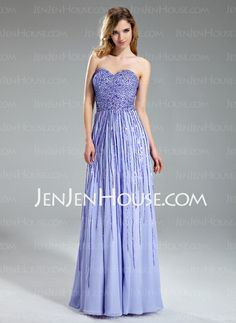 Prom Dresses - $186.99 - A-Line/Princess Sweetheart Floor-Length Chiffon Prom Dress With Sequins (018018995) http://jenjenhouse.com/A-Line-Princess-Sweetheart-Floor-Length-Chiffon-Prom-Dress-With-Sequins-018018995-g18995