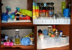 Cupboard Corral RV Cabinet Organizer from Corral Plastics. Could make my own with very thin wood strips. Camper Life, Rv Campers, Happy Campers, Rv Life, Travel Trailer Living, Rv Travel Trailers, Camping Toys, Camping Ideas, Rv Cabinets
