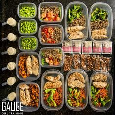 www.gaugegirltraining.com Are your meals planned and prepped for the week? Here is my meal prep for the next 4 days. The kitchen is where the magic happens! Conquer your laziness and assert yourself by planning ahead. Lose the excuses and you will get your results. Contact Christine@musclegauge.com or go to gaugegirltraining.com to get started on your custom meal and training program today