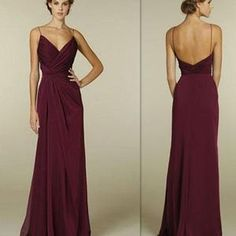 Maroon Spaghetti Straps V-neck Simple Open Back Long Formal Prom Bridesmaid Dress. PB1001
