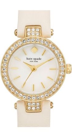 Women's kate spade new york 'tiny metro' crystal bezel leather strap watch, from Nordstrom. Kate Spade New York, Kate Spade Watch, Crystal Jewelry, Stone Jewelry, Jewelry Accessories, Watch Accessories, Bridal Accessories, Bracelet Watch, Stud Earrings