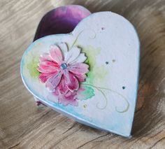 Hand painted heart trinket jewellery box, with flower design. by handmadebystrawb on Etsy