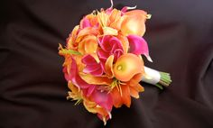 Sunset Orange and Fuchsia Bouquet; for when we renew