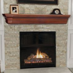 Chic Stacked Stone Tile Fireplace Surround With Fireplace Mantel Shelf And Fireplace Screen