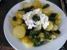 Opekané zemiaky s baby špenátom a Cottage syrom