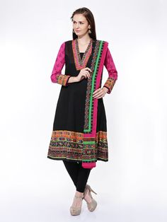 Buy BIBA Women Black Printed Churidar Kurta With Dupatta - 553 - Apparel for Women - 412501