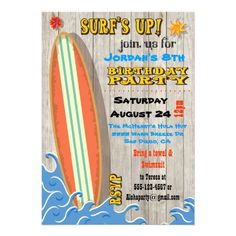 Surfing Birthday Party Invitations. Cool retro surf board and fun typography