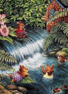 Susan Wheeler Paintings   Details about Susan Wheeler Art Dewberry Lane Rabbit Family 4 Prints