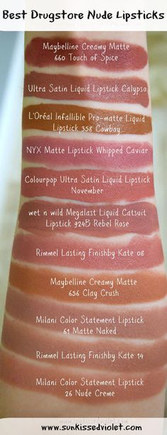 Milani Nude Crème Matte Naked, Rimmel by Kate 008 Wet n Wild Rebel Rose, ColourPop Ultra Satin Liquid Lipstick November Calypso, Maybelline Creamy Matte Clay Crush Touch of Spice, L'Oreal Infallible Pro-Matte Liquid Lipstick Cowboy Maybelline Lipstick, Lipstick Swatches, Nude Lipstick, Makeup Swatches, Drugstore Makeup, Best Matte Lipstick Drugstore, Wet N Wild Lipstick, Matte Lipsticks, Makeup Tips