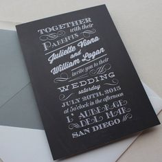 black and white wedding invitation from Papela, #weddings