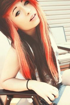 orange borwn scene alternative hair #pretty #girl #hair