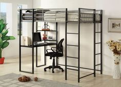 Furniture of america Sherman silver and gun metal finish metal frame twin size loft bunk bed with desk are with shelves underneath Loft Bed Frame, Loft Bunk Beds, Bunk Bed With Desk, Metal Bunk Beds, Bunk Beds With Stairs, Bed With Drawers, Bed Frames, Bed With Desk Underneath, Contemporary Bunk Beds