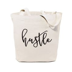 Hustle Cotton Canvas Gym, Yoga, Shopping Travel Reusable Shoulder Tote and Handbag, Gifts for Her, V Cotton Bag, Cotton Canvas, Canvas Fabric, Diy Canvas, Canvas Material, Bag Quotes, Canvas Designs, Canvas Tote Bags, Canvas Totes