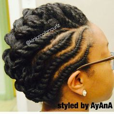 Flat twist updo styled by AyAnA